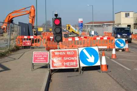 Traffic signals on Tesco access road