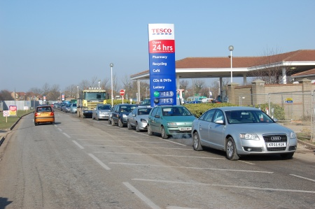 Traffic queues to leave Tesco