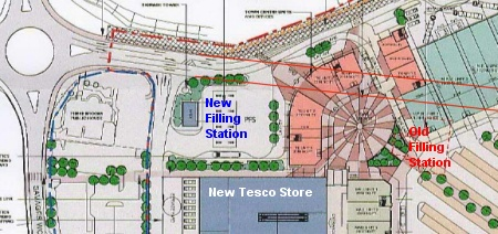 Plan showing new and old filling stations