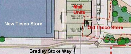 Plan Showing Overlap of New and Old Tesco Stores