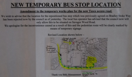 Notice of Bus Diversions at Bradley Stoke Town Centre
