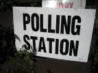 Polling Station Sign (photo by Paul Downey).