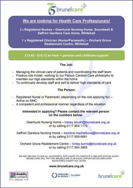 Vacancies for healthcare professionals at Brunelcare, Bristol.
