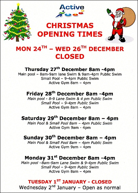 Christmas 2012 opening hours at Bradley Stoke Leisure Centre.