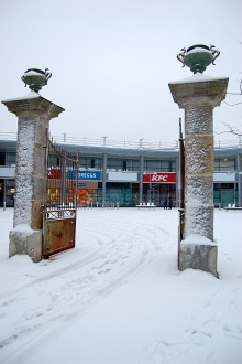 Snow in the Town Square at the Willow Brook Centre, Bradley Stoke.