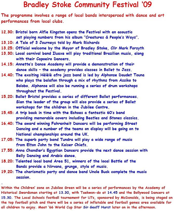 Festival Saturday Programme