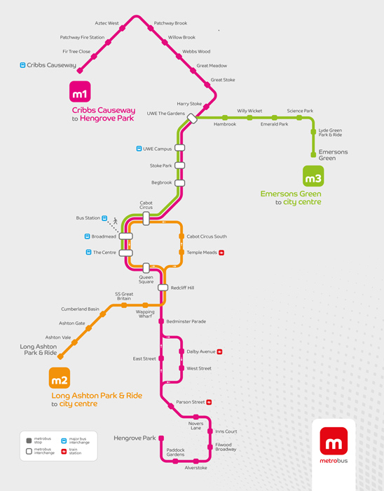 MetroBus network map (January 2018).