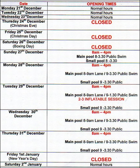 Bradley Stoke Leisure Centre Opening Times Christmas 2009