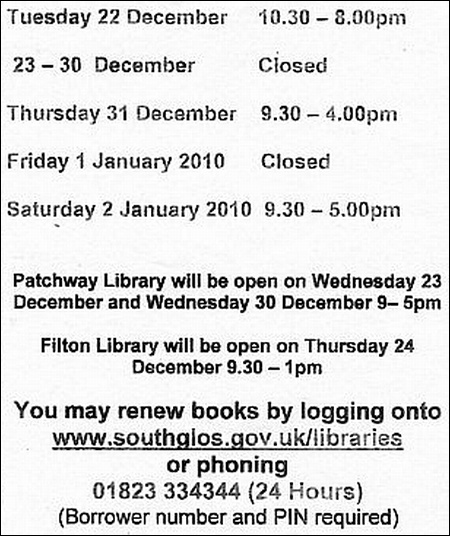Bradley Stoke Library Opening Times Christmas 2009