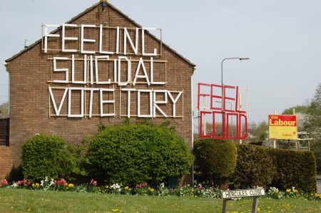 "Little Stoke ""Feeling Suicidal Vote Tory"" Sign"