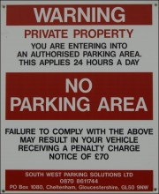 Willow Brook Centre No Parking Sign