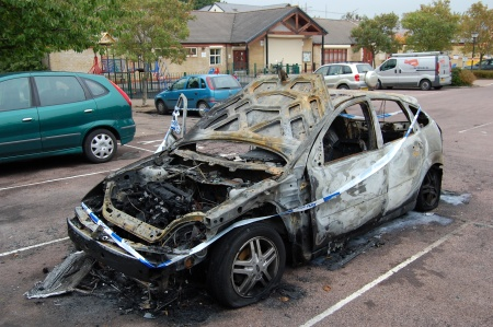 Burnt-out car, Brook Way, Bradley Stoke, Bristol