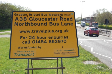 A38 Gloucester Road bus lane roadworks