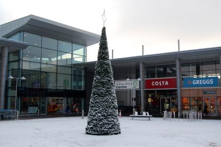 Bradley Stoke's Town Square in the snow