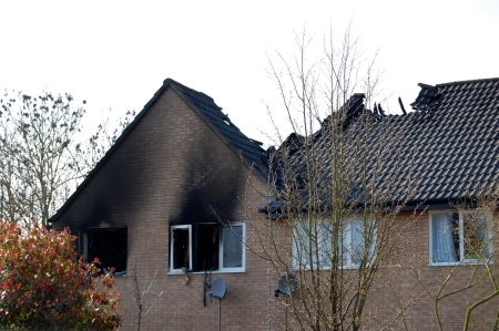 Aftermath of a fire at a house in Merryweather Close, Bradley Stoke