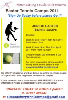 Easter tennis camps for juniors at Almondsbury Tennis Club