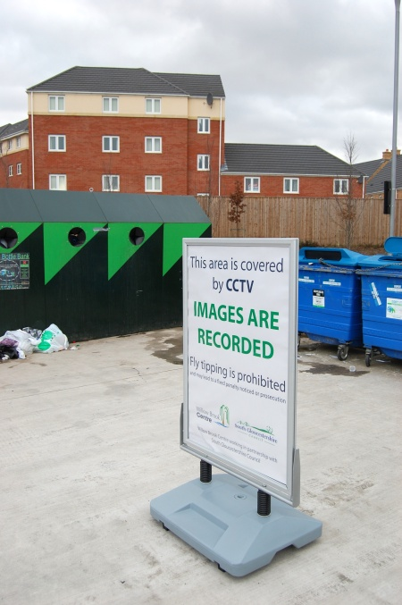 Recycling area at the Willow Brook Centre, Bradley Stoke, Bristol
