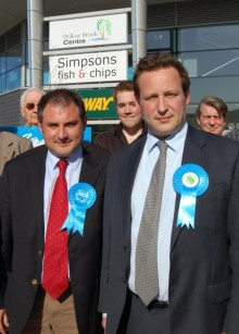 Jack Lopresti MP (left) with Communications Minister Ed Vaizey