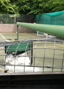 Felled floodlight at Brook Way Activity Centre, Bradley Stoke
