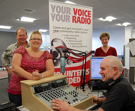 Bradley Stoke Radio in their studio at the Willow Brook Centre