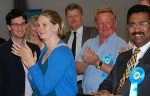 Conservative supporters celebrate victory in Bradley Stoke