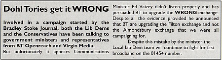 Tories get it wrong about broadband (say Bradley Stoke Liberal Democrats)