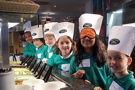 Bowsland Green pupils at the Harvester restarant, Bradley Stoke