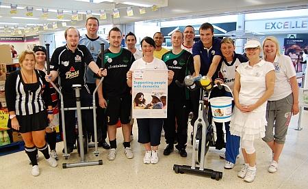 Staff at Tesco Extra, Bradley Stoke, raise money for the Alzheimer's Society