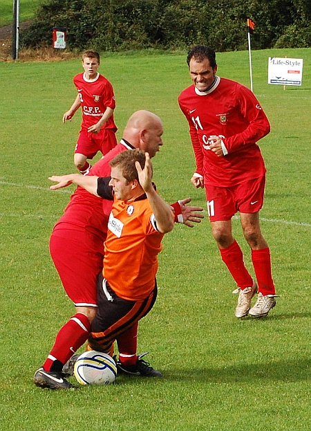 A fierce tackle in the Bradley Stoke v Winterbourne game