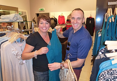 Makeover model Mary Abrahams with TV fashion stylist Mark Heyes