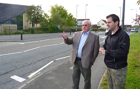 Cllrs Brian Allinson (left) and Ben Walker on Pear Tree Road, Bradley Stoke