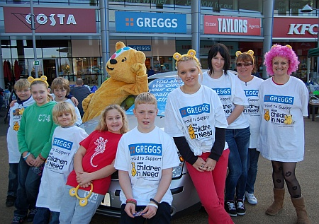 Children in Need fundraising by Greggs, Bradley Stoke, Bristol.
