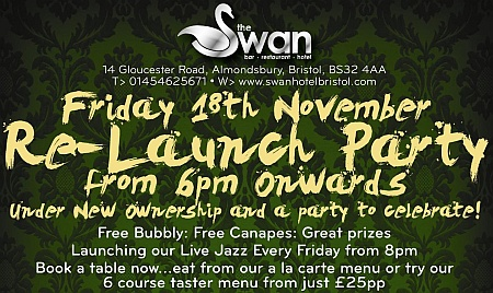Re-Launch party at The Swan Hotel, Almondsbury, Bristol