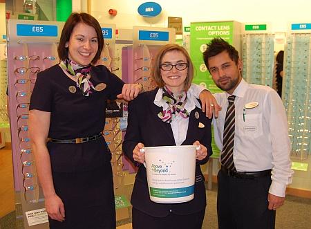Fundraiser Terri Jenkins (centre) at Specsavers, Bradley Stoke
