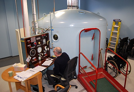 Oxygen chamber at the new MS Therapy Centre in Bradley Stoke