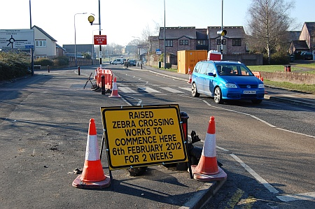 Raised table zebra crossing under construction in Pear Tree Road