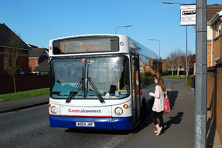 A U7 bus at a stop in Webbs Wood Road, Bradley Stoke, Bristol.