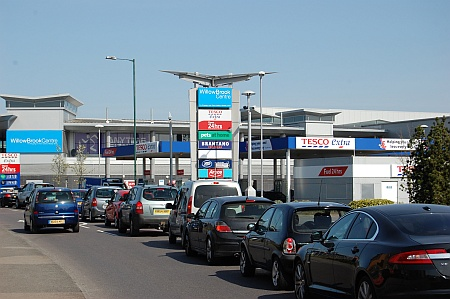 Traffic congestion at the Tesco filling station in Bradley Stoke