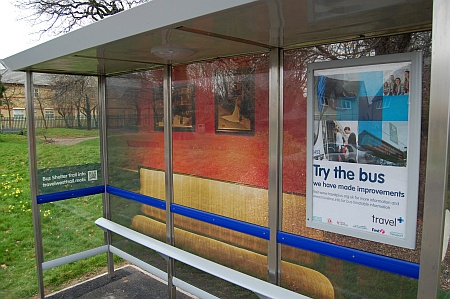 Decorated bus shelter on Brook Way, Bradley Stoke, Bristol