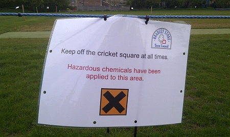 Hazardous chemicals on the cricket square at Baileys Court..
