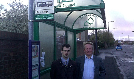 Cllr Rob Jones and Cllr John Ashe at a bus stop in Bradley Stoke South.