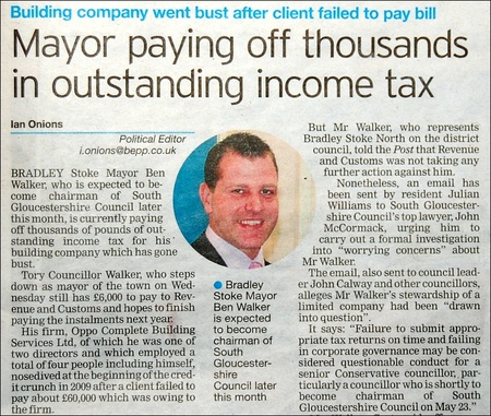 Ben Walker is paying off thousands in outstanding income tax.