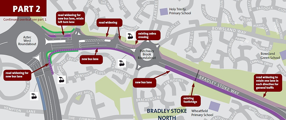 Proposed bus rapid transit route in North Bradley Stoke.