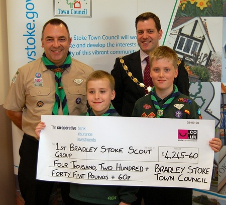 Presentation of a cheque to the 1st Bradley Stoke Scout Group.