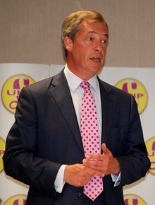 Nigel Farage MEP addresses a UKIP meeting at the Aztec Hotel in Bristol.