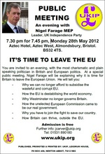 "Flyer advertising ""an evening with Nigel Farage MEP""at the Aztec Hotel."