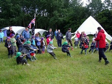 The 1st Bradley Stoke beaver colony - tug of war.