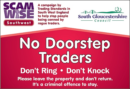 "A ""no doorstep traders"" sign from South Gloucestershire Council."