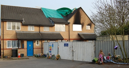 Aftermath of the tragic house fire in Merryweather Close.