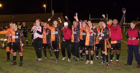 Players from Bradley Stoke Town win the Glos FA Cup in 2011.